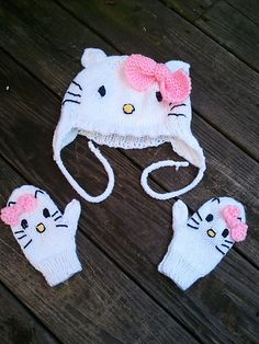 Ravelry: My Hello Kitty Mittens pattern by Jennifer Brooks Rice There is a scarf too that Alyssa is going to want