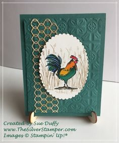 Home to Roost A version of our stamp camp card adding Chicken Wire Elements turned to gold with Vegas Gold Shimmer Paint Bird Cards, Butterfly Cards, Home To Roost, Tin Tiles, Chickens And Roosters, Stamping Up Cards, Birthday Cards For Men, Animal Cards, Fall Cards