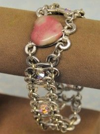Rhodonite Heart Silver Filled Link Bracelet - $59.00 Rustic Passion Jewelry & Crafts