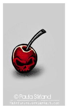 Cherry Skull Tattoo Design