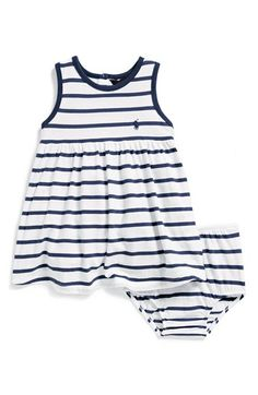 Ralph Lauren Stripe Jersey Sleeveless Dress   Bloomers (Baby Girls)    Nordstrom baf6c1e72a2