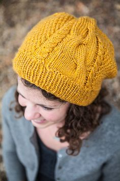 4d633a3697b Yellow Cable Knit Slouch Beanie
