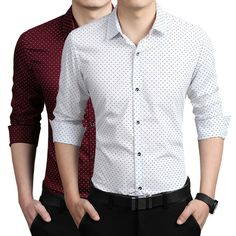 Cheap sleeve shirt men, Buy Quality casual men shirt directly from China men long sleeve shirt Suppliers: 2016 New Autumn Fashion Brand Men Clothes Slim Fit Men Long Sleeve Shirt Men Polka Dot Casual Men Shirt Social Plus Size Business Casual Dresses, Business Casual Men, Men Casual, Mens Shirts Brands, Tuxedo For Men, Men's Tuxedo, The Office Shirts, Men Store, Shirt Sale