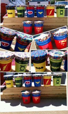 superhero themed classroom   Superhero paint bucket stools for the classroom