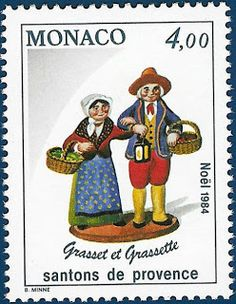 """P8 Buttons & Fabrics: Traditional Costumes : Postage Stamps """"Santons de Provence"""""""