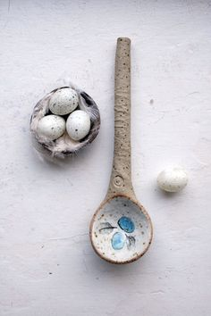 The details and lovely rustic beauty of this spoon are delightful! ... Rustic woodland ceramic spoon sculpturebird nest by jolucksted, £12.00