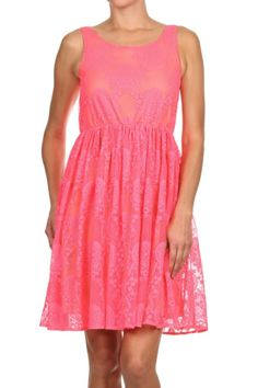 This neon bubblegum pink lace dress is a definite statement dress. Lace overly has a unique floral pattern and is lined in a nude stretch fabric. This looks great for a wedding or even as an Easter dress.    Pretty In Pink Dress by Freeway Apparel. Clothing - Dresses - Casual Atlanta, Georgia