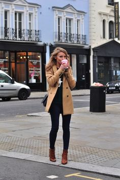 love the skinnies with ankle boots and a nice neutral coat.