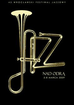 This pin stuck out to me because of the way the typography is also the design. The illustrator used jazz instruments as the title. Very creative.