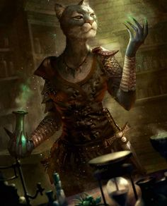 Female Khajiiit Alchemist From the Elder Scrolls: Legends game. I don't know who the artist is. The Elder Scrolls, Elder Scrolls Skyrim, Elder Scrolls Online, Elder Scrolls Games, Fantasy Races, Fantasy Rpg, Medieval Fantasy, Final Fantasy, Oblivion