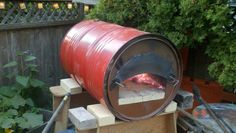 If at all possible, the brothers would like to re-purpose materials already found at the cottage to create their pizza oven. This innovative use of a old oil drum may inspire an idea or two.