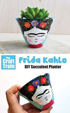 Make a Frida Kahlo planter using a succulent for her hair. This would make a lovely handmade gift idea for the art lover and a cute and easy decor idea featuring the iconic and inspiring artist, Frida. Creative Homemade Gifts, Diy Gifts For Kids, Diy For Kids, Crafts For Kids, Succulent Planter Diy, Diy Planters, Succulents Diy, Activities For Kids, Activity Ideas