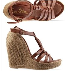 "Sam Edelman Leroy Espadrille This trendy sandal is a sweet summer espadrille wedge and 100% darling. Braided wrap brown leather t-strap on top of a towering jute covered heel. 4 3/4"" heel and 1"" platform. Leather upper, jute lower and man made sole. Fits true to size. Size 8 insole measures at 9 3/4 inches. Worn for modeling only. No wear to bottoms or heel. No box. NO TRADES/NO PAYPAL. Please ask all questions before purchasing. Cheers! Sam Edelman Shoes Espadrilles"