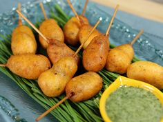 Mini Corn Dogs with Cilantro Dipping Sauce from Kimberlys Simply Southern