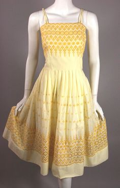 SOLD 1950s sundress full skirt size S 36 bust 27 waist yellow eyelet lace dress
