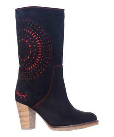 Look at this #zulilyfind! Dark Jungle & Red Underlay Leather Boot by Desigual #zulilyfinds