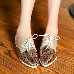 Mixed Colors Star Pattern Women Flats Lace Up Casual Shoes