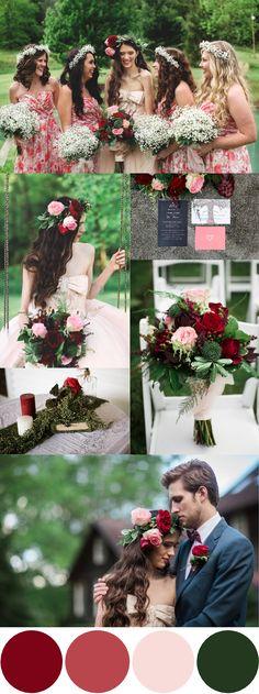 Pink, Red & Green Wedding Inspiration|Photographer:  Jasmine Rose Photography
