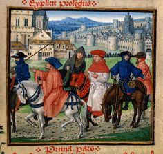 Detail of miniature of Lydgate and pilgrims on the road to Canterbury, at the beginning of the prologue of the Siege of Thebes. British Literature, British Library, English Literature, British History, Medieval Life, Medieval Art, Medieval Horse, Medieval Music, Medieval Clothing