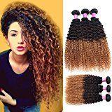 Allove Hair 8A Brazilian 3 Tone Ombre Color Kinky Curly Virgin Human Hair Bundles Human Curly Hair Bundles Extensions