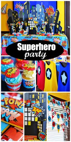 Loving all the ideas at this vintage boy birthday superhero party! See more party ideas at CatchMyParty.com.