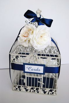 LARGE Custom Bird Cage Wedding Card Holder - Navy & Ivory/White with Silver Berries (Customizable To Match Your Wedding Colors). $60.00, via Etsy.