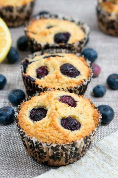 Paleo Lemon Blueberry Muffins made with almond flour, freshly squeezed lemon juice, lemon zest and baked to perfection!   via @NeliHoward