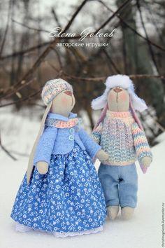 """Купить Пара зайчиков """"сНежные"""" - голубой, пара зайцев, зайки тильда, зайчики, парочка"""