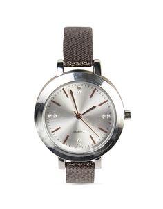 Round Textured Strap Watch
