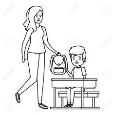 happy student boy in schooldesk with female teacher vector illustration design #sponsored #bo Pencil drawings easy Happy students Vector illustration design
