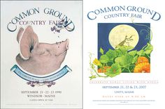 Common Ground Country Fair's annual posters - pig and praying mantis