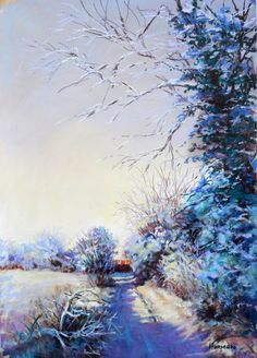 from the British Winter landscape series; 'Longridge Lane'.  19x14inches. Pastel/ available.