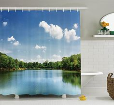 Ambesonne Lake House Decor Collection Calm River Landscape among Rainforest in South Asia under Sunny Sky Peace Print Polyester Fabric Bathroom Shower Curtain Set with Hooks Blue Green White -- Click image to review more details. Note:It is Affiliate Link to Amazon.