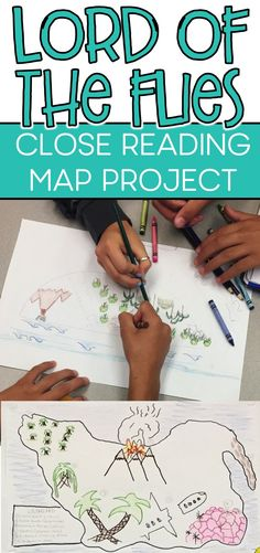 Lord of the Flies map project with close reading and analysis. ideas, activities and resources for t Teaching American Literature, High School Literature, British Literature, Teaching English, 10th Grade English, Middle School Ela, Secondary School, 8th Grade Ela, English Projects