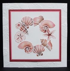 Dreamweaver Shell Wreath stencil with inks.