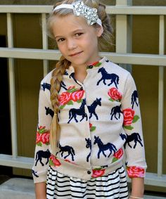 Cream Horse Cardigan - Toddler & Girls #zulily #zulilyfinds