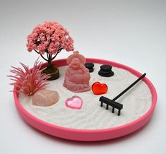 Valentines Day Gift Mini Zen Garden // Rose Quartz Crystal // Buddha Office Decor // DIY Kit // Anni office decor diy Your place to buy and sell all things handmade Miniature Zen Garden, Mini Zen Garden, Diy Garden, Desktop Zen Garden, Sandalwood Incense, Buddha Decor, Golden Design, Rose Quartz Crystal, Statue