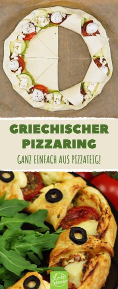 Greek Pizza Ring – Pizza recipe for a hearty lunch or dinner - Herzhaft Pizza Ring, Healthy Pizza, Healthy Appetizers, Appetizer Recipes, Best Cauliflower Pizza Crust, Zucchini Pizza Crust, Pizza Snacks, Pizza Recipes, Greek Pizza