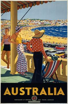 A SLICE IN TIME Australia Bondi Beach New South Wales Vintage Australian Travel Advertisement Art Collectible Wall Decor Poster Print. Poster Measures 10 x inches A4 Poster, Kunst Poster, Poster Wall, Australia Beach, Australia Travel, Sydney Australia, Posters Australia, Tourism Poster, Art Deco Posters