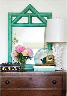 green mirror + white lamp + wood dresser (not the girly vibe, but the color palette: green, white, brown, and turquoise/blue)