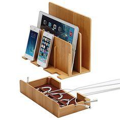 Amazon | 【従来の不満点をとことん解決した充電スタンド】iPhone Android iPod iPad Mac PC などをひとまとめに Multi Charging Station(マルチチャージングステーション)(バンブー) | | パソコン・周辺機器 通販