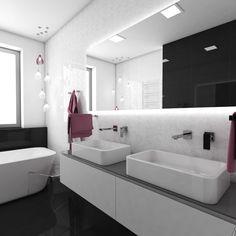 Charming high-gloss black-and-white bathroom Siena, White Bathroom, Bathroom Inspiration, High Gloss, Bathtub, Black And White, Bathrooms, Czech Republic, Design