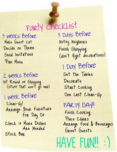 party planning checklist Making Party Planning Checklist