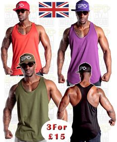 3 mens #plain gym vests #bodybuilding muscle yback racerback stringer #ladies ibi,  View more on the LINK: http://www.zeppy.io/product/gb/2/172357001613/