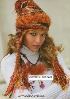 inspiration, the use of a fluffy yarn makes the hole creation  Crochet Womans hat with earflap, Pattern