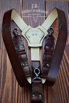 Men's Leather suspenders Personalized Suspenders Brown