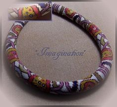 """crochet rope - """"Imagination"""" - 32 beads around. 49.5 cm long and 1.5 cm in…"""