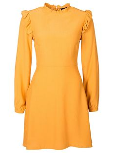 Frill Trim Long Sleeve Skater Dress