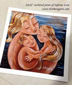 Infinite Love  mother and children on beach  por kmberggren en Etsy
