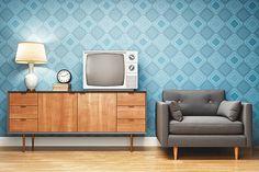 Retro Style Living Room Interior Design stok fotoğrafı